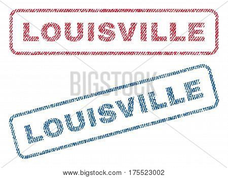 Louisville text textile seal stamp watermarks. Blue red fabric vectorized texture. Vector tag inside rounded rectangular shape. Rubber emblem with fiber textile structure.