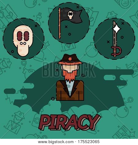 Piracy flat concept icons. Vector illustration, EPS 10