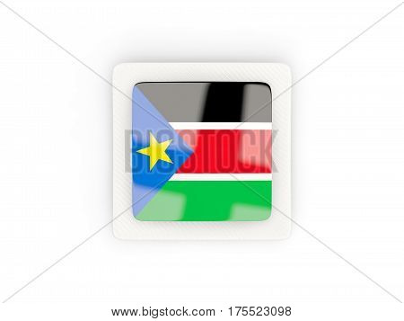 Square Carbon Icon With Flag Of South Sudan