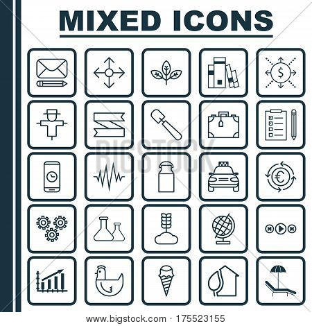 Set Of 25 Universal Editable Icons. Can Be Used For Web, Mobile And App Design. Includes Elements Such As Blank Ribbon, Edit Mail, World Sphere And More.