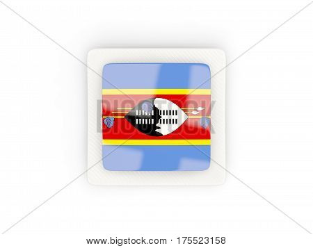 Square Carbon Icon With Flag Of Swaziland