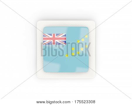 Square Carbon Icon With Flag Of Tuvalu