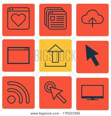 Set Of 9 Online Connection Icons. Includes Website Bookmarks, Program, Mouse And Other Symbols. Beautiful Design Elements.