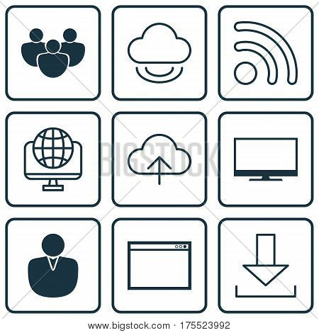 Set Of 9 World Wide Web Icons. Includes Computer Network, Display, Team And Other Symbols. Beautiful Design Elements.