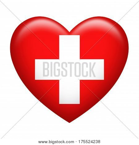 Heart shape of Switzerland flag isolated on white