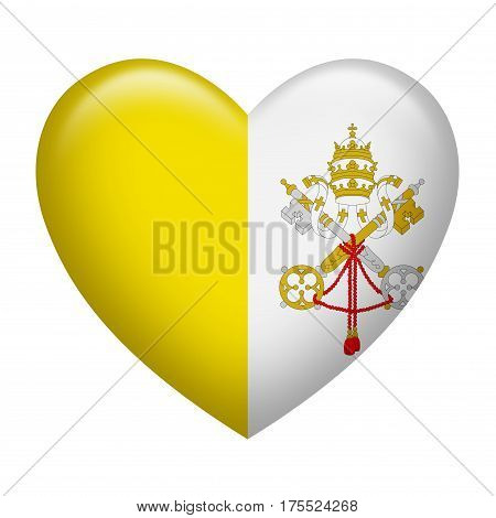 Heart shape of Vatican City insignia isolated on white