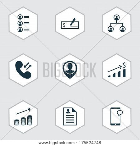 Set Of 9 Management Icons. Includes Curriculum Vitae, Job Applicants, Cellular Data And Other Symbols. Beautiful Design Elements.