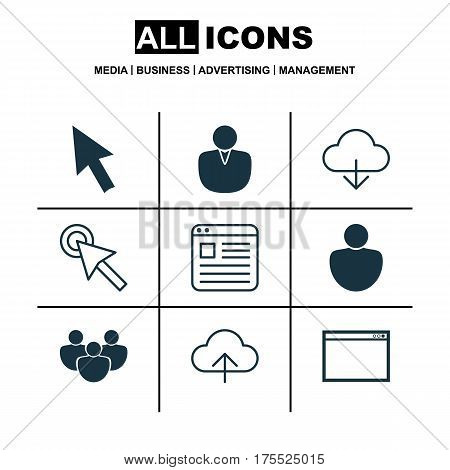 Set Of 9 Internet Icons. Includes Program, Data Synchronize, Team And Other Symbols. Beautiful Design Elements.