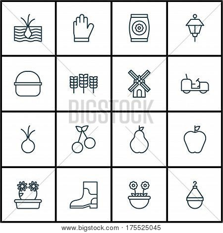 Set Of 16 Holticulture Icons. Includes Package, Taste Apple, Agrimotor And Other Symbols. Beautiful Design Elements.