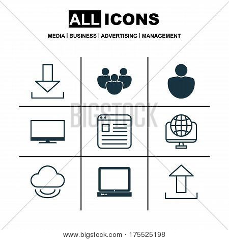 Set Of 9 World Wide Web Icons. Includes Website Page, Display, Human And Other Symbols. Beautiful Design Elements.
