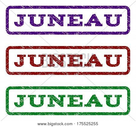 Juneau watermark stamp. Text tag inside rounded rectangle frame with grunge design style. Vector variants are indigo blue, red, green ink colors. Rubber seal stamp with scratched texture.
