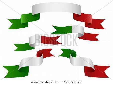 Set of Italy insignia in different shape of ribbons