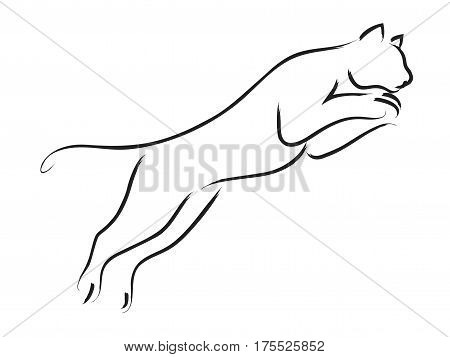 Simple line art of a jumping puma