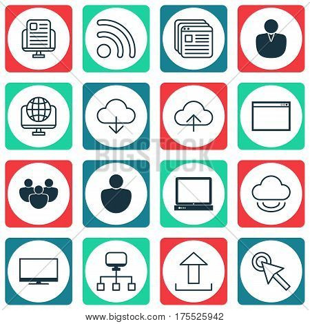 Set Of 16 World Wide Web Icons. Includes Data Synchronize, Website Bookmarks, Team And Other Symbols. Beautiful Design Elements.