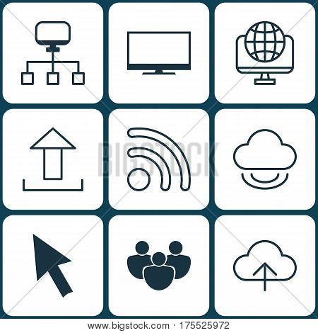 Set Of 9 World Wide Web Icons. Includes Wifi, Data Synchronize, Send Data And Other Symbols. Beautiful Design Elements.