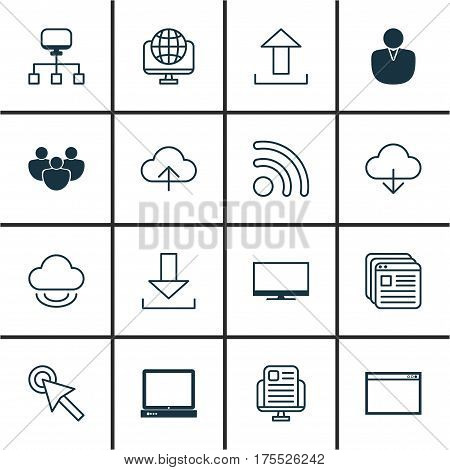 Set Of 16 Web Icons. Includes Virtual Storage, Login, Data Synchronize And Other Symbols. Beautiful Design Elements.