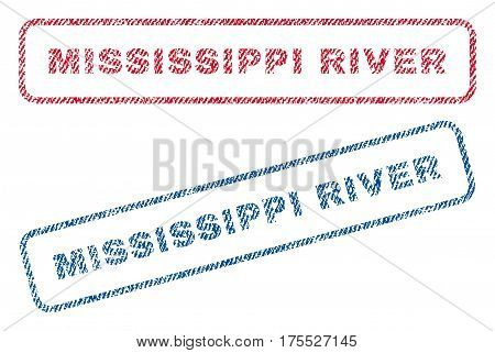 Mississippi River text textile seal stamp watermarks. Blue red fabric vectorized texture. Vector caption inside rounded rectangular banner. Rubber sign with fiber textile structure.