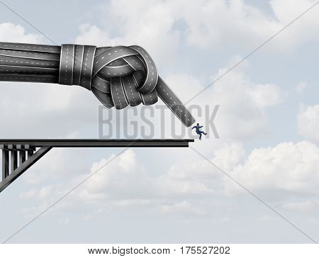 Pushed off the end of a road by a group of streets shaped as a pointing hand pushing a businessman down as a business metaphor for being squeezed and pressured with 3D illustration elements.