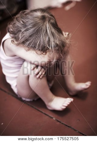 Sad baby. Crying  little girl