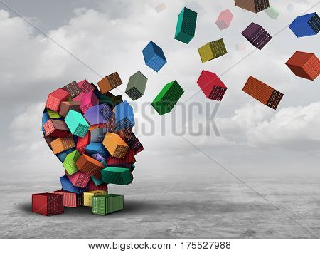 Cargo distribution concept and freight logistics management symbol as a group of shipping containers shaped as a human head with parcel boxes flying into the air for delivery as a 3D illustration.
