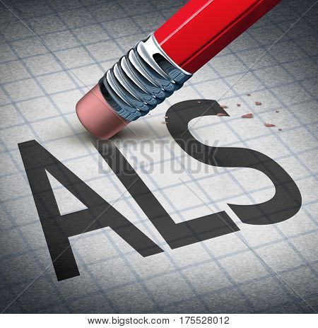Amyotrophic laterals sclerosis or ALS as a neurodegenerative disease therapy and cure concept as a pencil eraser erasing the ailment as a metaphor for hope as a 3D illustration.