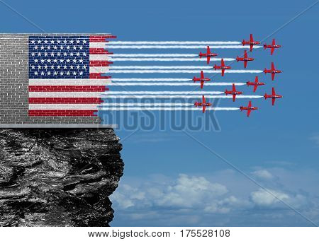 American renewal and US economic revival concept as a broken brick wall with jet airplanes completing the USA flag with air show aerobatics smoke trails as an economic confidence for future economy and financial success with 3D illustration elements.