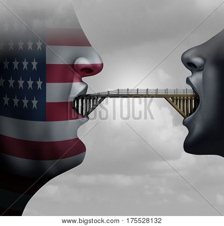 American immigration ban concept showing America with a closed mouth blocking a bridge as a traveling restriction metaphor for Washington travel and United States migration policy with 3D illustration elements.
