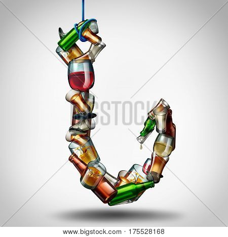 Alcohol hook and under the influence of alcoholic drinks as a group of bottles and glasses shaped as a fishing lure as a health and medical risk of addiction as a 3D illustration.