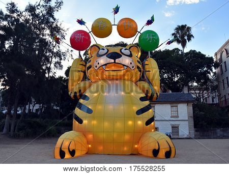 Sydney, Australia - Feb 5, 2017. Larger than life lanterns in the shape of Chinese zodiac animals  at Circular Quay celebrating the Chinese Lunar New Year in 2017.