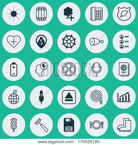 Set Of 25 Universal Editable Icons. Can Be Used For Web, Mobile And App Design. Includes Elements Such As Battery, Work Phone, Profit Graph And More.