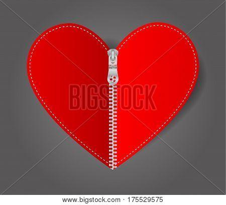 Vector Heart sealed white zipper isolated on black