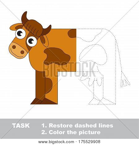 Brown Cow. Dot to dot educational game for kids. Trace the colorless half and color the picture.
