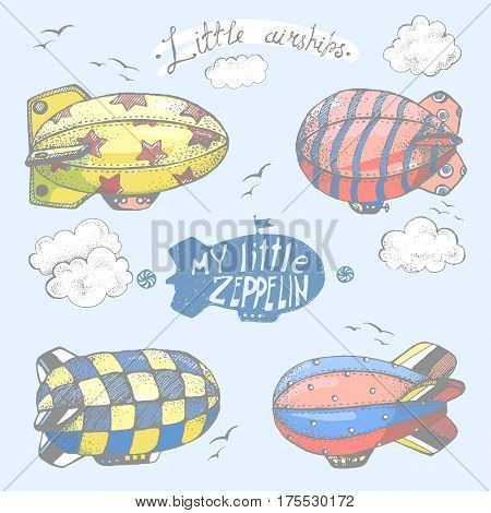 Hand drawn vector vintage collection of cute little airchips with strips, stars, dots and squares in the sky. Zeppelin, birds and clouds.