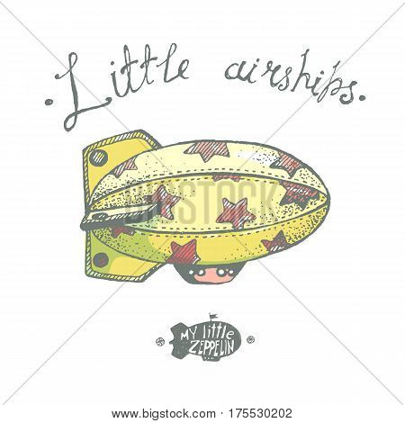Hand drawn vector vintage little airchip with stars. Little zeppelin for your logo or illustration.