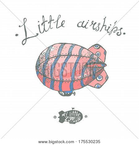 Hand drawn vector vintage little airchip with strips. Little zeppelin for your logo or illustration.