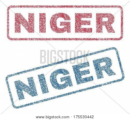 Niger text textile seal stamp watermarks. Blue red fabric vectorized texture. Vector caption inside rounded rectangular banner. Rubber sign with fiber textile structure.