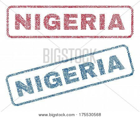 Nigeria text textile seal stamp watermarks. Blue red fabric vectorized texture. Vector tag inside rounded rectangular banner. Rubber sign with fiber textile structure.