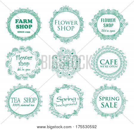 Vintage shop signages. Vector set for design