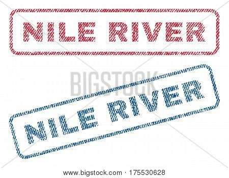 Nile River text textile seal stamp watermarks. Blue red fabric vectorized texture. Vector caption inside rounded rectangular shape. Rubber sticker with fiber textile structure.