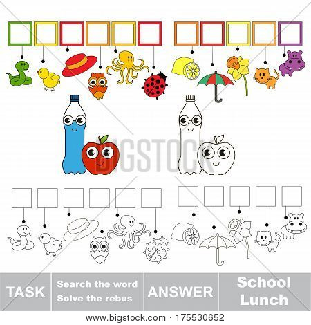 Educational puzzle game for kids. Find the hidden word Water Bottle and Red Apple
