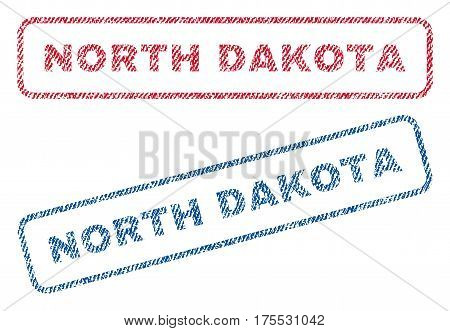 North Dakota text textile seal stamp watermarks. Blue red fabric vectorized texture. Vector tag inside rounded rectangular banner. Rubber emblem with fiber textile structure.