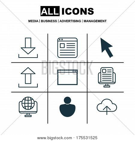 Set Of 9 Online Connection Icons. Includes Computer Network, Mouse, Data Synchronize And Other Symbols. Beautiful Design Elements.