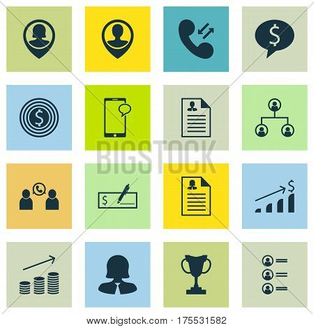 Set Of 16 Hr Icons. Includes Employee Location, Female Application, Job Applicants And Other Symbols. Beautiful Design Elements.