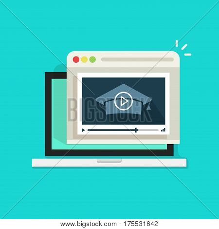 Online educational webinar vector illustration, flat style laptop with video player showing learning information, distance education, e-learning or study concept