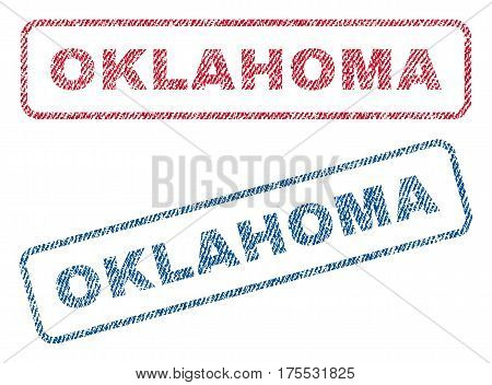 Oklahoma text textile seal stamp watermarks. Blue red fabric vectorized texture. Vector tag inside rounded rectangular shape. Rubber sticker with fiber textile structure.