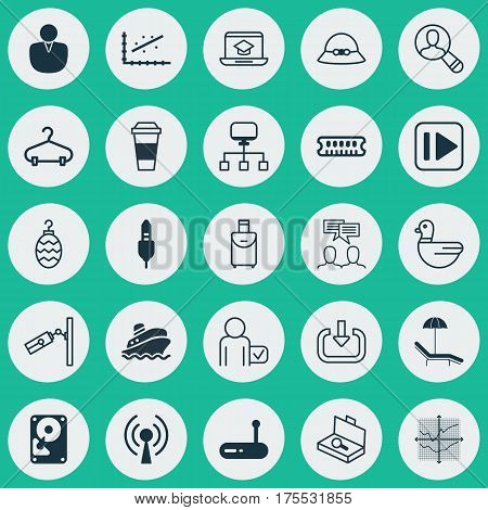 Set Of 25 Universal Editable Icons. Can Be Used For Web, Mobile And App Design. Includes Elements Such As Suitcase Checking, Spectator, Following Music And More.