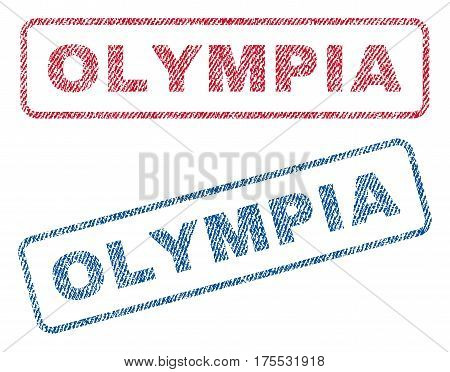 Olympia text textile seal stamp watermarks. Blue red fabric vectorized texture. Vector tag inside rounded rectangular banner. Rubber sign with fiber textile structure.