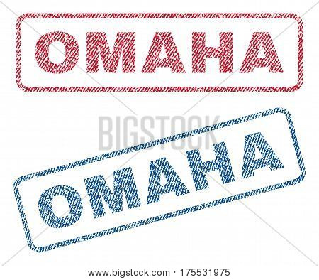 Omaha text textile seal stamp watermarks. Blue red fabric vectorized texture. Vector tag inside rounded rectangular shape. Rubber sign with fiber textile structure.