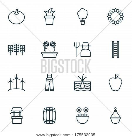 Set Of 16 Agriculture Icons. Includes Radish, Cask, Floweret And Other Symbols. Beautiful Design Elements.