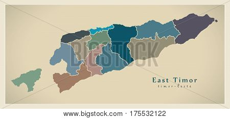 Modern Map - East Timor With Districts Colored Tl Illustration